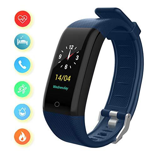 Intelligente Orologio Fitness Activity Tracker Cardio Impermeabile IP68 Smart Watch Cardiofrequenzimetro da Polso Contapassi Pedometro Smartwatch per Android e iOS,Blue
