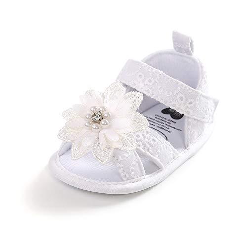 Geagodelia Sandali con Inturini Estivi Con Fiori e Perla per Bambine Scarpine Antiscivolo Morbide Pantofole in Cotone per Neonata (Bianco, 6-12 Mesi)