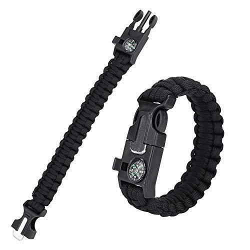 Pulseras tácticas de cuerda de supervivencia, pulseras de supervivencia de Paracord para hombres y mujeres, brazaletes al aire libre, cuerda de paraguas envolvente(Negro)