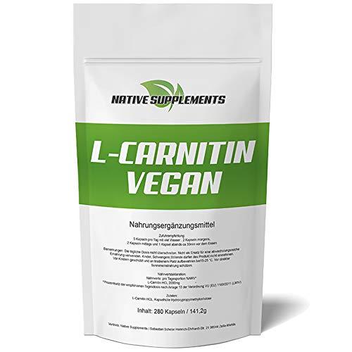 L-Carnitin Kapseln Vegan - XXL Bulk - 280 Stück Hochdosiert - Bester Preis für Vegane Carnitine - Ohne unerwünschte Zusätze & Ohne Gentechnik in Deutschland Hergestellt - Für Veganer geeignet