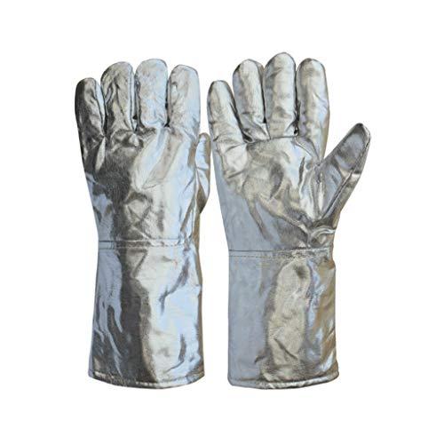 Schutzhandschuhe- Isolierende Handschuhe und Strahlenschutzhandschuhe, hochtemperaturbeständige schmelzende Fünf-Finger-Aluminiumfolienhandschuhe (Color : Silver, Size : L37cm)