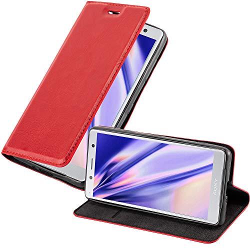 Cadorabo Coque pour Sony Xperia XZ2 Compact en Rouge DE Pomme - Housse Protection avec Fermoire Magnétique, Stand Horizontal et Fente Carte - Portefeuille Etui Poche Folio Case Cover