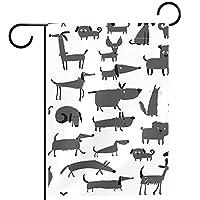 春夏両面フローラルガーデンフラッグウェルカムガーデンフラッグ(12x18in)庭の装飾のため,動物の犬の漫画