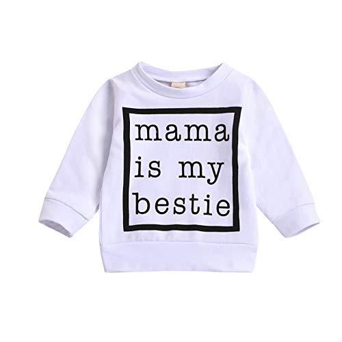 T-Shirt Kleinkind Baby Mädchen Jungen Langarmshirts Mama is My Bestie Letter Print Tops Sweatshirts Pullover Kleidung, Weiß, 3-4 Jahre
