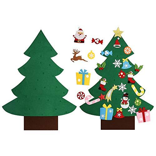 Asommet 3 Piedi. Albero di Natale in Feltro Fai da Te con 28 Pezzi Ornamenti Rimovibili Decorazione della Parete per i Bambini Regali di Natale Decorazione della Porta di casa