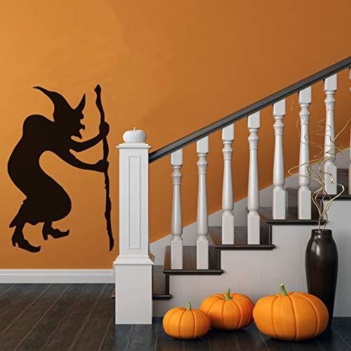 YuanMinglu Buckel Moderne gehstock Hexe wandaufkleber Kinder Schlafzimmer Halloween Party Aufkleber Wohnzimmer Dekoration feuchtigkeitsdichten Papier 29x46 cm