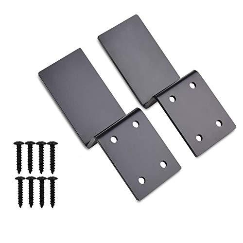 "Heavy Duty Door Barricade Brackets Open Bar Security Holder Bracket Fits 2""x4"" Lumber for Door Reinforcement (1 Pair 2 Pieces with 8 Screws) (2 Open Bar Holder)"