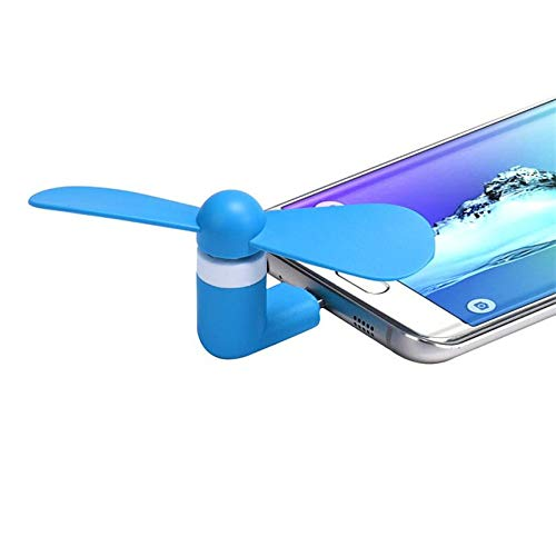 Handy Ventilator Handyventilator Mikro USB Lightning Taschenventilator Miniventilator Ventilator Fan Mobil (Mikro USB, Blau)