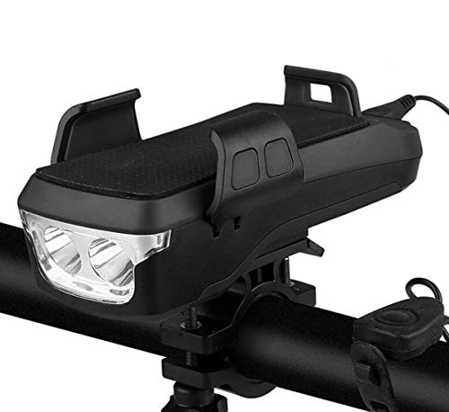 Nuevo 4 en 1 Luz Bicicleta Recargable USB, 4000 mAh Incorporado,con Altavoz, Soporte para Teléfono Celular, Alimentación Móvil USB, luz para Bicicleta,IP3 Impermeable (Negro)