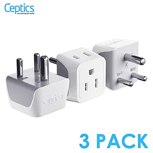India, Nepal, Pakistan Travel Adapter Plug by Ceptics - Type D (3 Pack) - Ultra Compact - Dual USA Input - Safe Grounded Perfect for Cell Phones, Laptops, Camera Chargers and More (CT-10)