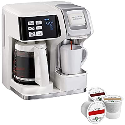 Hamilton Beach 49947 FlexBrew 2 Way Coffee Maker: Single-Serve or 12 Cup Pot, White Bundle with Victor Allen Colombian Single Serve Brew Cups of Coffee - Includes 3 K-Cups