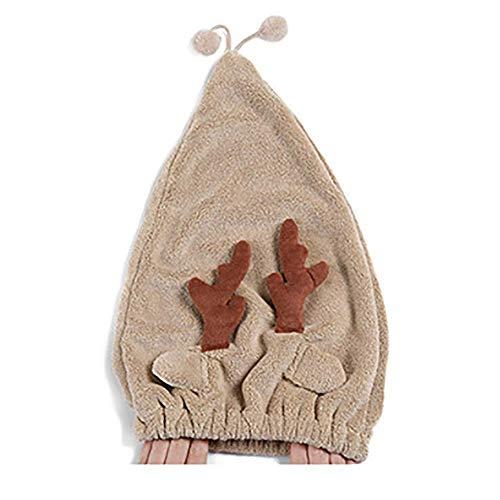 Gorro de Pelo seco Resilience Coral Velvet Gorro de Pelo seco, Gorro de Pelo de Dibujos Animados Absorbencia Gorro de Ducha para niños, Marrón (Color: Café)