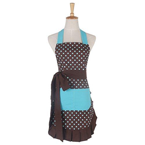 G2PLUS Schön Frau Schürze Baumwolle Blumenmuster Küchenschürze Modische Apron mit Taschen zum Kochen oder Backen
