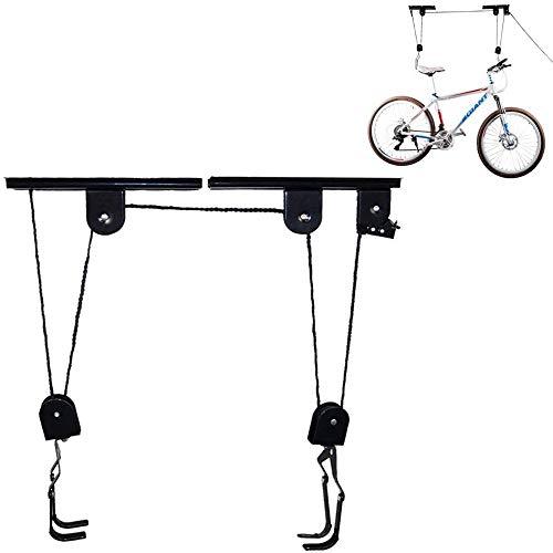 Montacargas para bicicletas-Elevador de bicicletas para almacenamiento de garaje,soporte de polea para colgar en el techo para bicicletas de montaña,incluso funciona como escalera, capacidad de 110 lb