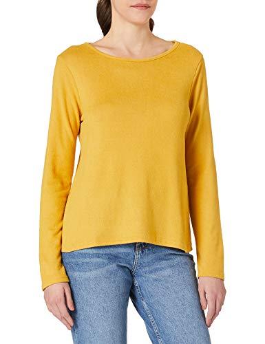 Springfield Camiseta Lace Espalda T-Shirt, Giallo/Bianco Sporco, L Donna
