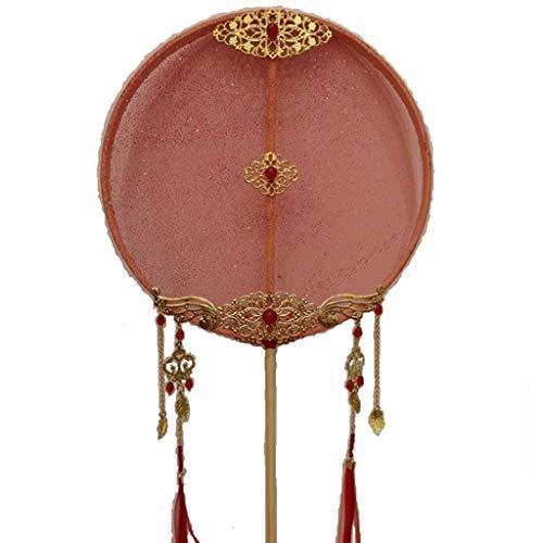 Abanico de mano de mango largo para mujer, borla de bronce, colgante, estilo de la dinastía Tang, abanico redondo, accesorios para disparos de boda Hanfu (color: rojo)