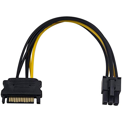 Duttek SATA Kabel des Ladenetzteils 15-Pol. SATA-Stecker an 6-Pol Molex-Buchse, Netzteilkabel für IDE Festplatte, 0,20m