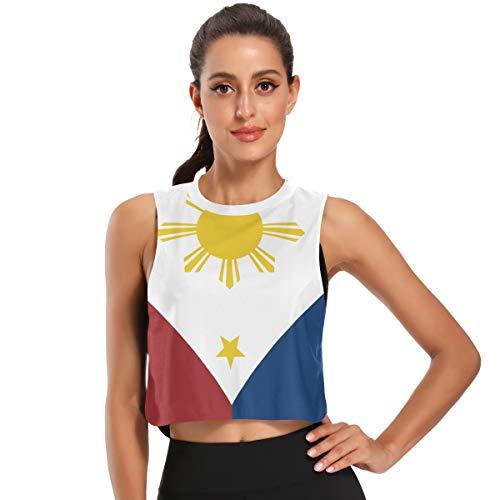 Women's Crop Top Workout Shirts Filipino Flag Sleeveless Muscle Tank Athletic Crop Tank Top