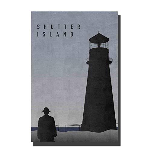 Sanwooden Shutter Island Film Art Poster Home Wand Leinwand Kunst für Wohnzimmer Home Decor Geschenk -50x70cm No Frame
