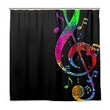MNSRUU Bunte Musik Note 183 x 183 cm Polyester Duschvorhang inkl. 12 Haken Badezimmer Deko Wasserdicht für Zuhause