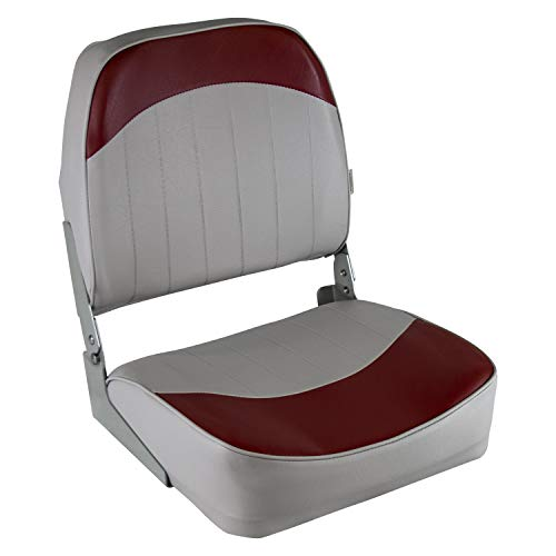 Low Back Boat Seat, Grey/Red - Wise 8WD734PLS-661