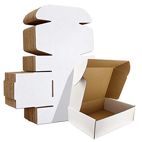 HORLIMER 9x6x2 inches Shipping Boxes Set of 25, White Corrugated Cardboard Box Literature Mailer