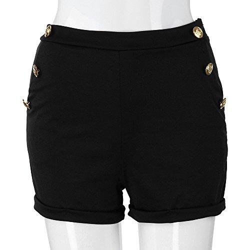 Pantalones para mujer, casual, talla grande, con cremallera, banda elástica, pantalones cortos de verano, pantalones cortos, negro, L