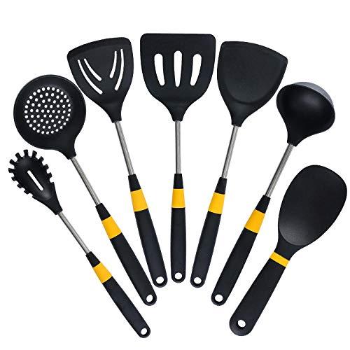 JLCK Ensemble d'ustensiles Cuisine Silicone 7 pièces, Ensemble d'outils de Cuisson au Four, ustensiles Cuisine Silicone antiadhésif résistant Chaleur pour ustensiles Cuisine antiadhésifs-Noir