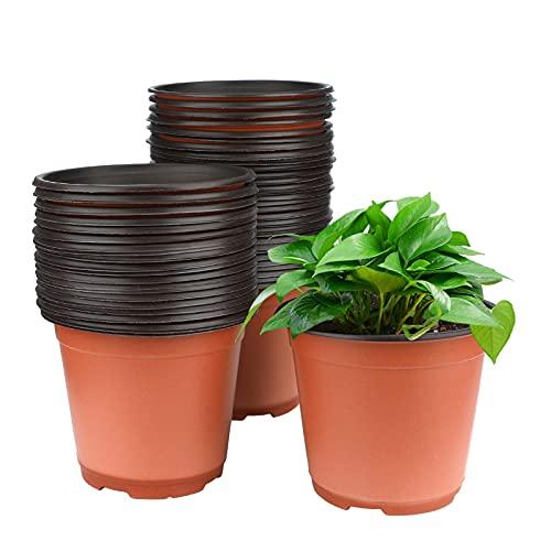 KINGLAKE 50 macetas de plástico para plantas, flores y para siembra, de 15 cm de diámetro,...