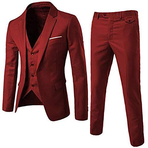 Heren 3 Stuks Pak Blazer Vest Broek Set Een Knop Slim Fit Effen Kleur Zakelijke Bruiloft Formele Pak