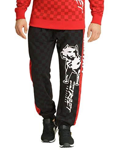 Amstaff Herren Jogginghose Dexta, Größe:L, Farbe:schwarz/rot/weiß