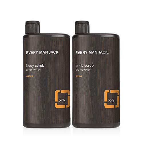 Every Man Jack Mens Exfoliating Body Wash for All Skin Types - Cleanse, Nourish, and Soothe Your Skin with Naturally Derived Coconut and Glycerin - Citrus Scent Twin Pack