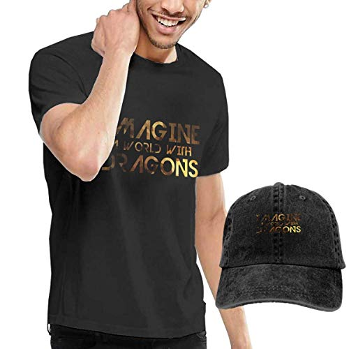 BAODANLE Camisetas y Tops Hombre Polos y Camisas Imagine A World with Dragons Men's Comfortable Tshirt and Hats Combination Black Funny Tops Tees