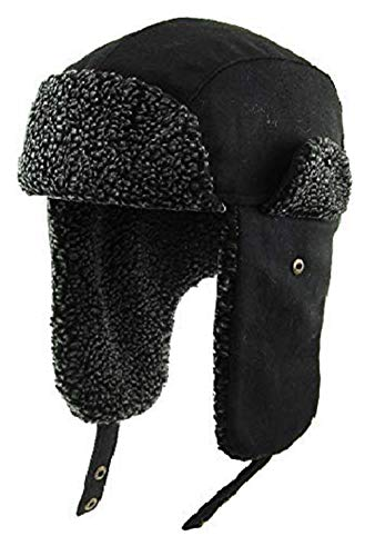 KBW-620 BLK Aviator Trapper Hat Trooper Winter Cap Ski