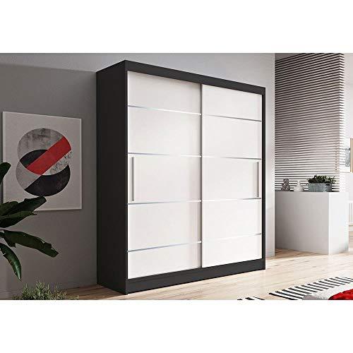 VISSTA06 - Armario con puertas correderas (150 cm), color blanco y negro