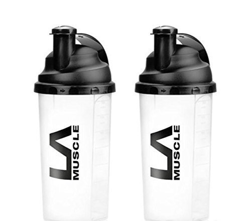 LA Muscle 700ml Shaker, Easy Mixing (2 Pack Clear)