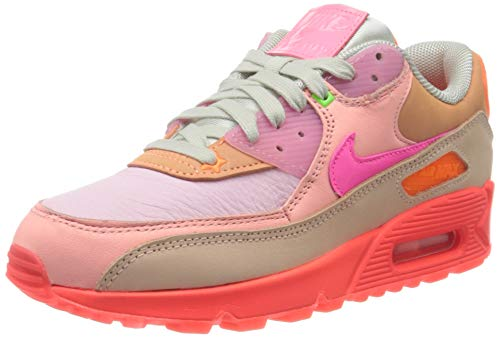 Nike Damen WMNS AIR MAX 90 Laufschuh, Bright Crimson Pure Platinum, 36.5 EU