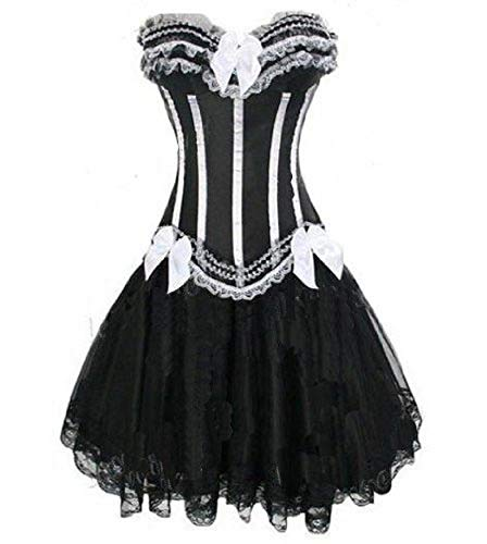 Per sempre giovane Burlesque Moulin Rouge Lolita Fancy Dress Corset Dress Bianco e Black Stripes 2 pezzi Corsetto + Gonna Taglia 36