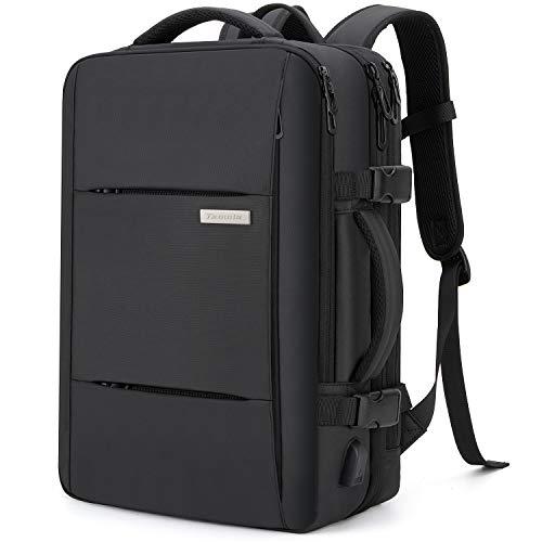 Tzowla 40L Carry On Travel Large Laptop Backpack,Water Resistant Business Backpack USB Charging Port Friendly Computer Backpack Men Women College School Bag Fit 16 or 17 inch Laptops-DarkGrey