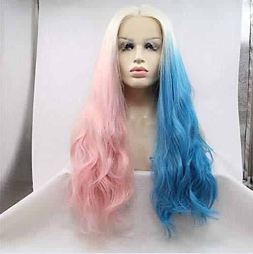 Synthétique dentelle avant perruques femmes's Loose CURL bleu Layered coupe 130% densité synthétique cheveux femmes perruque bleue très longue dentelle avant,24inch