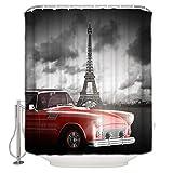 EdCott Nublado París Coche Rojo habitación patrón casa sin Olor fácillavar cortinaducha para baño baño Hotel Cortina baño Impermeable cortinabaño