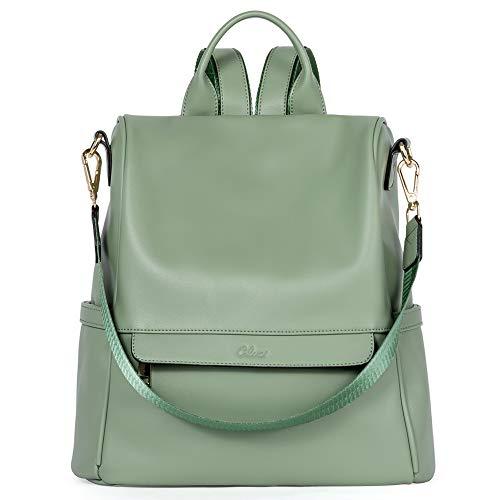 CLUCI Rucksack Damen Leder Mode Diebstahlsicherer Reiserucksack Schultertasche für Frauen 2 in 1 Grün