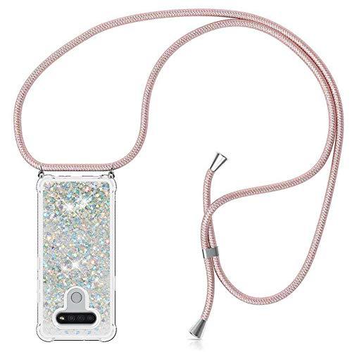 ZHXMALL Funda con Cuerda para LG K40S,Brillante Glitter liquida Transparente Suave TPU Silicona Case [Anti-rasguños Anti-Choque],Ajustable Collar Carcasa Cover,Plata