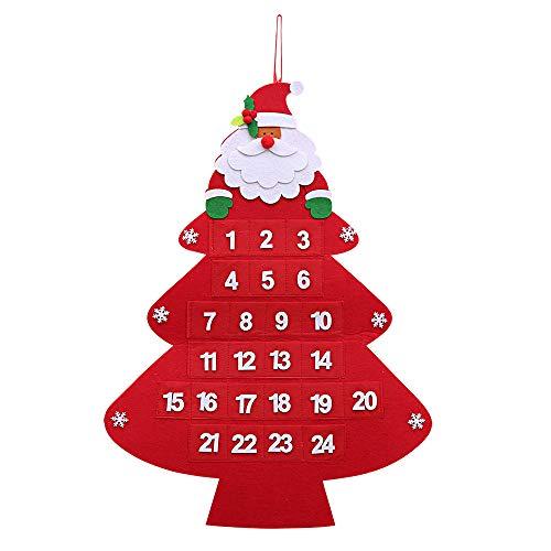 Kesote Calendario de Adviento de Navidad Calendario en Forma de Árbol de Navidad con Mini Bolsillos Navidad Decoracion para Pared, 59 x 43 cm