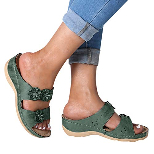 haoricu Sandal Shoes, Women Premium Orthopedic Open Toe Sandals Vintage Anti-Slip Breathable for Summer (5.5, C-Green)