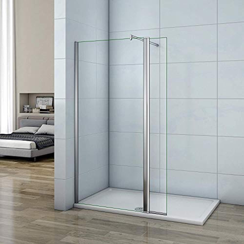 160x200cm Walk in Duschwand Duschtrennwand 8mm Easy-clean Nano Glas Duschabtrennung mit 30cm Flipper Panel F123