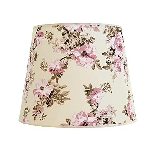 Abat-jour conique en tissu pour lampadaire E27 motif fleur rose, textile