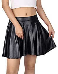 Wet Look Gold Skater Skirt