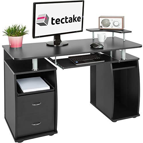 TecTake Computerschreibtisch Bürotisch mit ausfahrbarer Tastaturablage und Zwei Schubladen - Diverse Farben - (Schwarz | Nr. 402037)