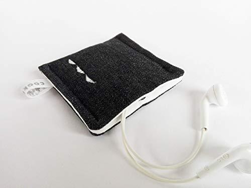 Kleines Etui mit Druckknopf. Aufbewahrungstasche - Earplug, Earpod, Kopfhörer Tasche, USB Stick Bag, Täschchen. Kleines Geschenk. Schwarz-Weiß